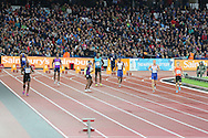 False start in the 100m heat B during the Sainsbury's Anniversary Games at the Queen Elizabeth II Olympic Park, London, United Kingdom on 24 July 2015. Photo by Ellie Hoad.