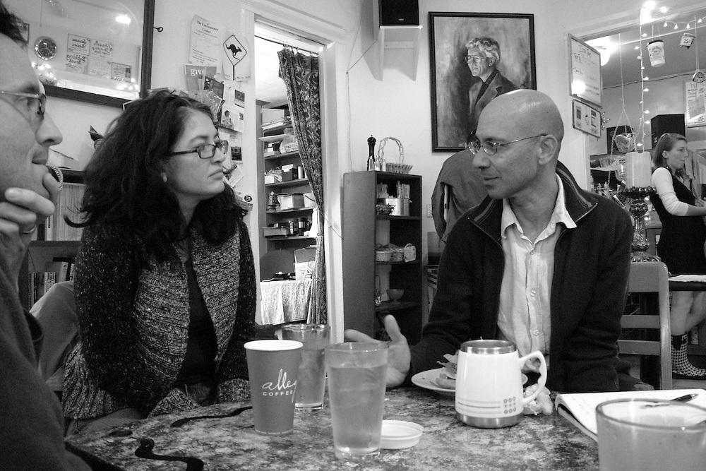 Stephen Alvarez, April Alvarez, and Pradip Malde at Stirling's Coffee House in Sewanee, Tennessee