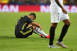 September 19, 2018 - Valencia, Spain - Cristiano Ronaldo of Juventus FC reacts after receiving a red card during the UEFA Champions League, Group H football match between Valencia CF and Juventus FC on September 19, 2018 at Mestalla stadium in Valencia, Spain (Credit Image: © Manuel Blondeau via ZUMA Wire)
