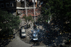 August 2, 2017 - Minneapolis, Minnesota, U.S. - Emergency workers respond to the explosion at Minnehaha Academy Wednesday afternoon. One person was killed and one is unaccounted for in an explosion at the Minnehaha Academy upper school, officials said. Nine were injured, and three of them are in critical condition. (Credit Image: © Aaron Lavinsky/TNS via ZUMA Wire)