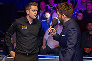 Andy Goldstein talks to the 2019 Scottish Open champion  Mark Selby at the World Snooker 19.com Scottish Open Final Mark Selby vs Jack Lisowski at the Emirates Arena, Glasgow, Scotland on 15 December 2019.