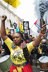London, UK. 29th May, 2021. Marvina Newton, founder of United for Black Lives, leads activists from civil rights and other groups taking part in a Kill The Bill National Day of Action in protest against the Police, Crime, Sentencing and Courts (PCSC) Bill 2021. The PCSC Bill would grant the police a range of new discretionary powers to shut down protests, including the ability to impose conditions on any protest deemed to be disruptive to the local community, wider stop and search powers and sentences of up to 10 years in prison for damaging memorials.