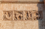 Medieval relief sculptures of mythical creatures on the exterior of the Romanesque Baptistery of Parma, circa 1196, (Battistero di Parma), Italy .<br /> <br /> If you prefer you can also buy from our ALAMY PHOTO LIBRARY  Collection visit : https://www.alamy.com/portfolio/paul-williams-funkystock/romanesque-art-antiquities.html<br /> Type -     Parma    - into the LOWER SEARCH WITHIN GALLERY box. <br /> <br /> Visit our ROMANESQUE ART PHOTO COLLECTION for more   photos  to download or buy as prints https://funkystock.photoshelter.com/gallery-collection/Medieval-Romanesque-Art-Antiquities-Historic-Sites-Pictures-Images-of/C0000uYGQT94tY_Y