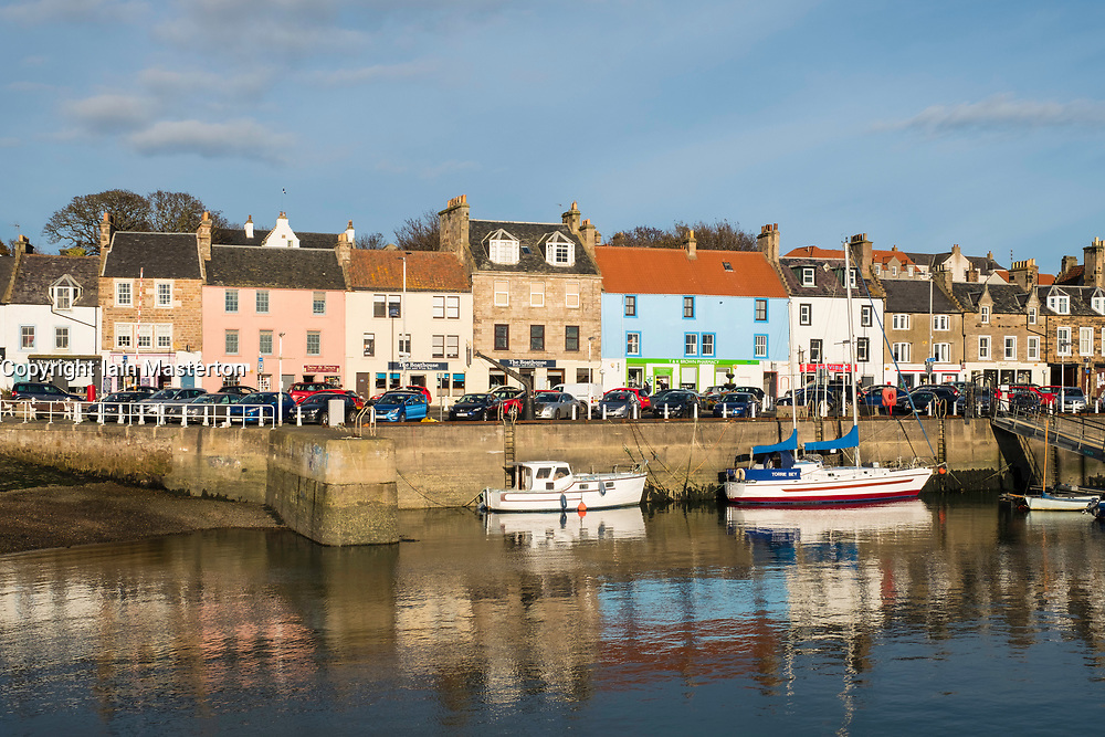View of harbour of  Anstruther fishing village in East Neuk of Fife in Scotland, United Kingdom