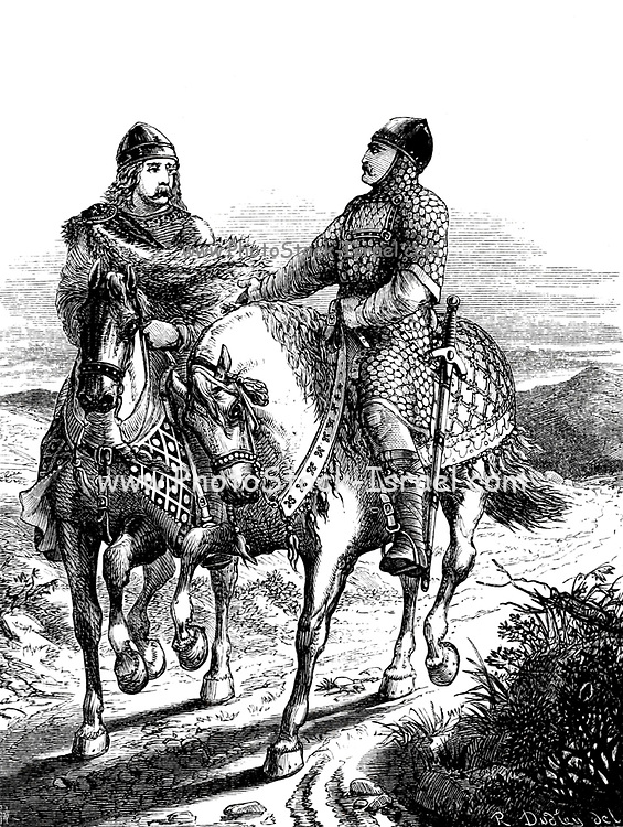 William Extorting a Promise from Harold From the Book 'Danes, Saxons and Normans : or, Stories of our ancestors' by Edgar, J. G. (John George), 1834-1864 Published in London in 1863