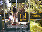 Tāwharanui Entry, Tourist using a Department of Conservation installation at an Entrance of Tāwharanui. Visitors should scrub und rinse the soles of their shoes, in order to minimize fungi entering or leaving the area that lead to the desasterous Kauri Dieback Disease, killing ancient giants of the New Zealand native forests.