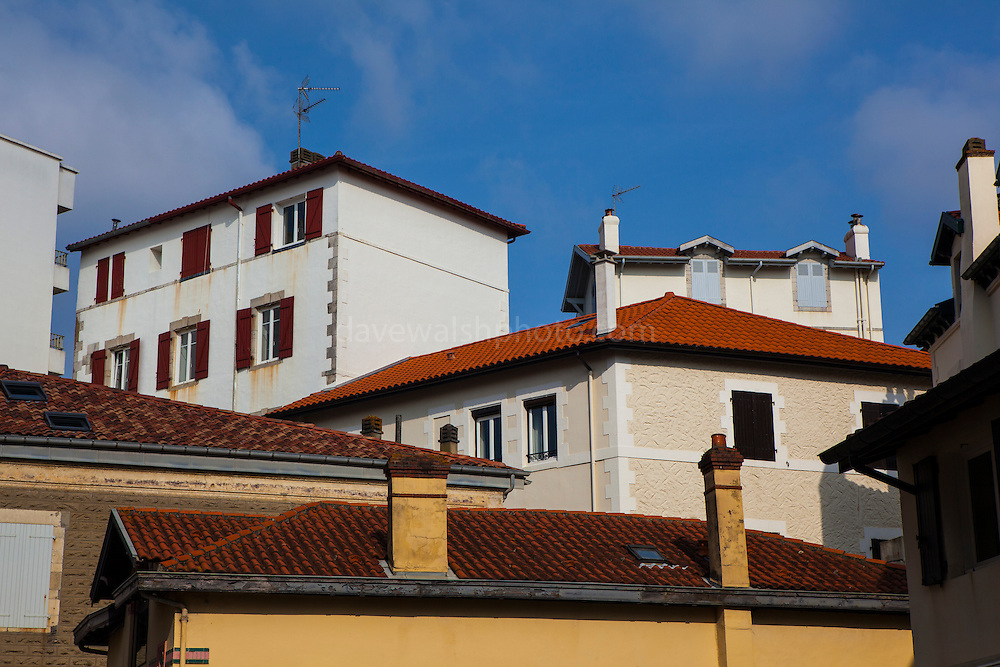 Typical houses with red roofs near the Plage de Port Vieux, Biarritz, Basque Country, France