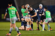 Sale Sharks prop WillGriff John and flanker Jonno Ross tackle Harlequins Mat Luamanu during a Gallagher Premiership match won by Sale Sharks 27-17 at the AJ Bell Stadium, Eccles, Greater Manchester, United Kingdom, Friday, April 5, 2019. (Steve Flynn/Image of Sport)