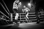 Ultimate bare-Knuckle boxing competition at Manchester's Bowlers Exhibition Centre, Old Trafford, Manchester, UK.<br /> Photo shows Chris Wheeldon (topless), who won his fight against Seamus Devlin (striped shirt).<br /> Photo ©Steve Forrest/Workers' Photos