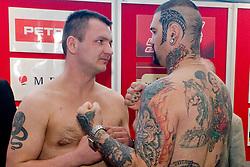 Ladislav Slezak of Slovakia vs Gonzalo Omar Basile of Argentina at official weighing before box fighting, on April 8, 2010, in Avto Delta, Ljubljana, Slovenia.  (Photo by Vid Ponikvar / Sportida)