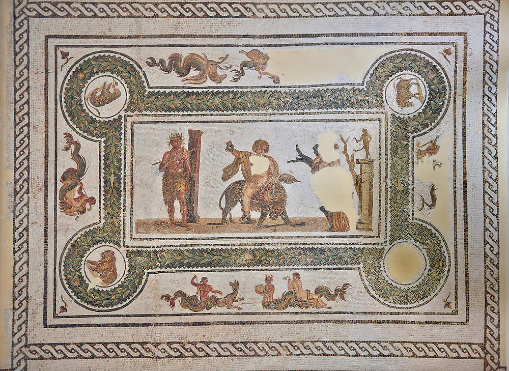 Pictures of a Roman mosaics design depicting Dionysus Riding a Panther, from Abdel Jelil. 2nd century AD. El Djem Archaeological Museum, El Djem, Tunisia.<br /> <br /> The Roman mosaic depicts Dionysus riding a Panther spilling a glass of wine he is holding. Behind him, a satyr wearing a panther skin plays a flute. In front of Dionysus a Bacchante is praying to Priapus,  a minor god of fertility. Surrounding the scene is a wreath designs with a medallion in each corner containing a wild boar, a panther, and lions. .<br /> <br /> If you prefer to buy from our ALAMY PHOTO LIBRARY Collection visit : https://www.alamy.com/portfolio/paul-williams-funkystock/roman-mosaic.html . Type - El Djem - into the LOWER SEARCH WITHIN GALLERY box. Refine search by adding background colour, place, museum etc<br /> <br /> Visit our ROMAN MOSAIC PHOTO COLLECTIONS for more photos to download as wall art prints https://funkystock.photoshelter.com/gallery-collection/Roman-Mosaics-Art-Pictures-Images/C0000LcfNel7FpLI