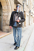 man wearing face shield during the Covid 19 crisis and lockdown France Limoux April 2020