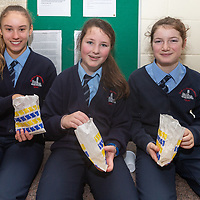 Wiktoria Matula, Maeve Wall and Katie McSherry eating popcorn at the Jessies Movie Spectacular Showcase day