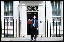 Chancellor of the Exchequer George Osborne holds Disraeli's original budget box as he leaves 11 Downing Street for Parliament to deliver his first Budget as Chancellor, Tuesday June 22, 2010. Photo By Andrew Parsons / i-Images.