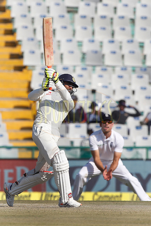 Ravindra Jadeja of India bats during day 3 of the third test match between India and England held at the Punjab Cricket Association IS Bindra Stadium, Mohali on the 28th November 2016.<br /> <br /> Photo by: Deepak Malik/ BCCI/ SPORTZPICS