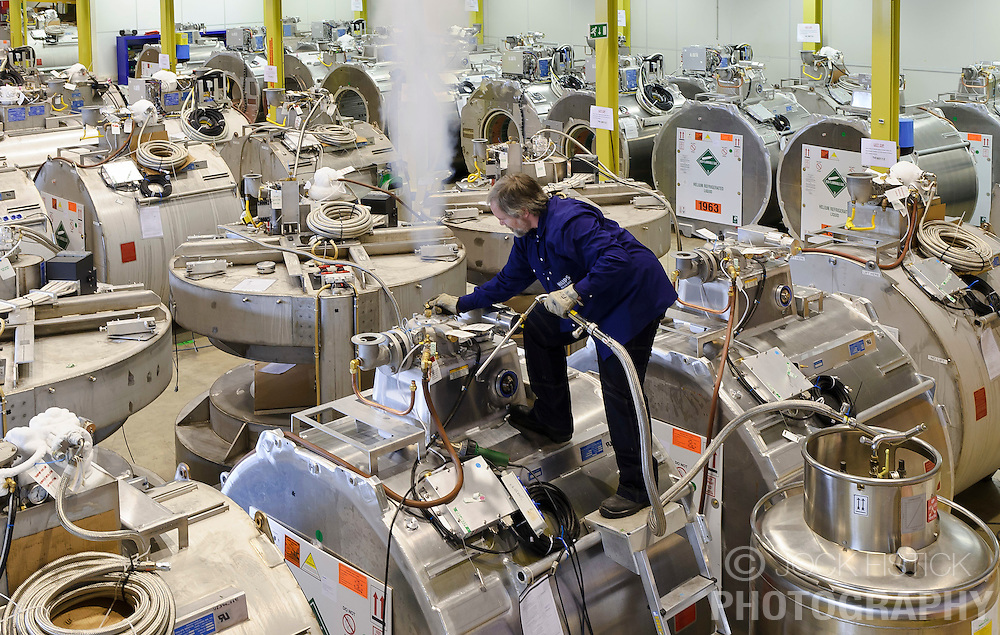John Bijnenburg, fills a room full of MR scanners with liquified refrigerated helium just before they are shipped to customers worldwide, at the Philips Healthcare production facility, in Best, the Netherlands, on Tuesday, Oct. 12, 2010. (Photo © Jock Fistick)