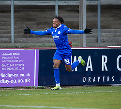 06MAR21 Queen of the South's Adedapo Awokoya-Mebude cele scoring their third goal. half time : Arbroath 2 v 3 Queen of the South, Scottish Championship played 6/3/2021 at Arbroath's home ground, Gayfield Park.