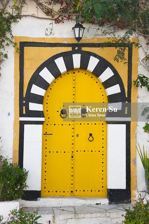Yellow door, Sidi Bou Said, Tunis, Tunisia