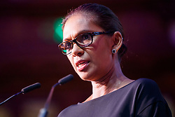 """© Licensed to London News Pictures. 12/05/2017. London, UK. GINA MILLER speaks on the impact of Brexit at """"The Convention on Brexit"""" event at Westminster Central Hall in London on Friday, 12 May 2017. Photo credit: Tolga Akmen/LNP"""