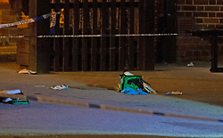 ©Licensed to London News Pictures 25/07/2020     <br /> Chislehurst, UK. A first aid bag and blood on the ground outside the pub. Police have cordoned off the Gordon Arms pub in Chislehurst, South East London after reports of two men being stabbed. Forensic officers are at the scene. Police were called at 20:52hrs on 24.07.20. Photo credit: Grant Falvey/LNP