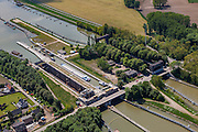 Nederland, Limburg, Gemeente  Sittard-Geleen, 27-05-2013; Julianakaal met sluizencomplex Born. De sluizen worden gerenoveerd. Gezien naar het Zuiden.<br /> Shipping locks Julianacanal (Meuse canal).<br /> luchtfoto (toeslag op standard tarieven);<br /> aerial photo (additional fee required);<br /> copyright foto/photo Siebe Swart.