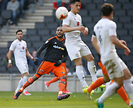 Leon Clarke of Sheffield Utd attempts a curled shot during the English League One match at  Stadium MK, Milton Keynes. Picture date: April 22nd 2017. Pic credit should read: Simon Bellis/Sportimage
