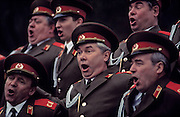 Gorky Park, Moscow, Russia..The Maxim Gorky Central Park of Culture and Rest was the first such park in the Soviet Union, and it remains the largest in Russia; some 10 million people visit each year. The Red Army Choir rehearsing a television special in the park.