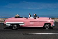 Classic car, Malecon, Havana, Cuba 2020 from Santiago to Havana, and in between.  Santiago, Baracoa, Guantanamo, Holguin, Las Tunas, Camaguey, Santi Spiritus, Trinidad, Santa Clara, Cienfuegos, Matanzas, Havana