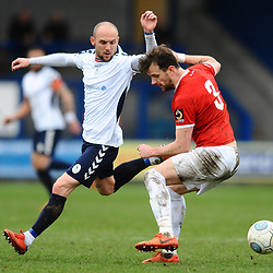 TELFORD COPYRIGHT MIKE SHERIDAN 9/3/2019 - Adam Dawson of AFC Telford (on loan from Macclesfield Town FC) and Stephen O'Halloran during the National League North fixture between AFC Telford United and FC United of Manchester (FCUM) at the New Bucks Head Stadium