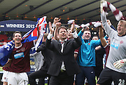 The William Hill Scottish FA Cup Final 2012 Hibernian Football Club v Heart Of Midlothian Football Club..19-05-12...Hearts manager Paulo Sergio leads the celebrations        during the William Hill Scottish FA Cup Final 2012 between (SPL) Scottish Premier League clubs Hibernian FC and Heart Of Midlothian FC. It's the first all Edinburgh Final since 1986 which Hearts won 3-1. Hearts bid to win the trophy since their last victory in 2006, and Hibs aim to win the Scottish Cup for the first time since 1902....At The Scottish National Stadium, Hampden Park, Glasgow...Picture Pauline Davison/ ProLens PhotoAgency/ PLPA.Saturday 19th May 2012.