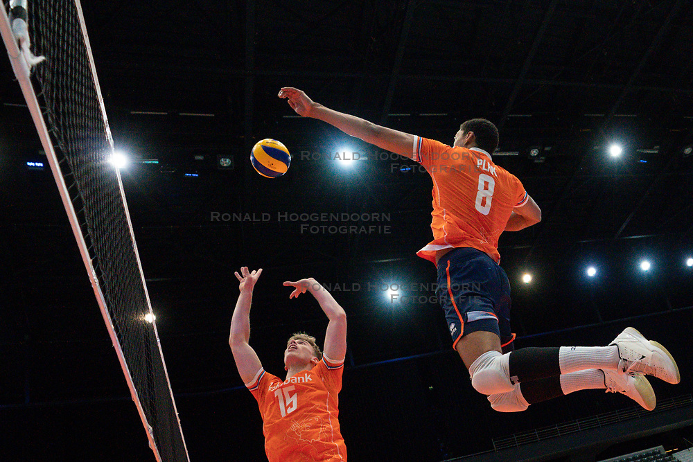 11-08-2019 NED: FIVB Tokyo Volleyball Qualification 2019 / Netherlands - USA, Rotterdam<br /> Final match pool B in hall Ahoy between Netherlands vs. United States (1-3) and Olympic ticket  for USA / Gijs van Solkema #15 of Netherlands, Fabian Plak #8 of Netherlands