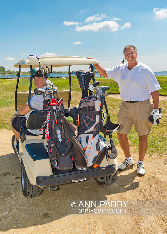 Oceanside, New York, USA. 2nd August 2013.  BRUCE GARFINKEL, of Woodmere, and SAL BURDI, of Rockville Centre, are golfing at South Bay Country Club.<br /> | You/Your Property in photo? Mention that when you use CONTACT page: http://ann-parry.photoshelter.com/contact