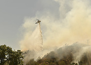 June 20, 2016 - Duarte, California, U.S. -A helicopter drops water on the Fish Fire Monday. ..The Fish Fire burns above Duarte and Los Angeles County. The Reservoir Fire also started nearby during record heat in the Southwest. The fire was 1,400 acres at 2:50pm.<br /> ©Exclusivepix Media