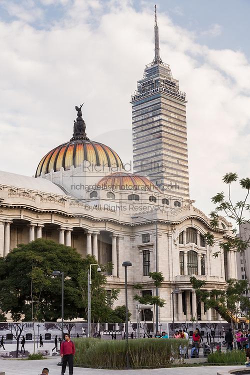 Palacio de Bellas Artes with the Torre Latinoamericana skyscraper behind on Alameda Central in Mexico City, Mexico.