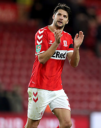 Middlesbrough's George Friend applauds the fans at the end of the Carabao Cup, Fourth Round match at the Riverside Stadium, Middlesbrough.