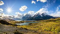 A fish-eye shot of the Torres del Paine mountain range taken from the Mirador del Nordenskjöld.