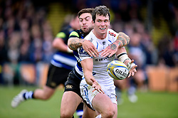 Ian Whitten of Exeter Chiefs passes the ball after being tackled by Matt Banahan of Bath Rugby - Mandatory byline: Patrick Khachfe/JMP - 07966 386802 - 17/10/2015 - RUGBY UNION - The Recreation Ground - Bath, England - Bath Rugby v Exeter Chiefs - Aviva Premiership.