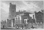 Church of St Mary, Lambeth engraving 'Metropolitan Improvements, or London in the Nineteenth Century' London, England, UK 1828 , drawn by Thomas H Shepherd