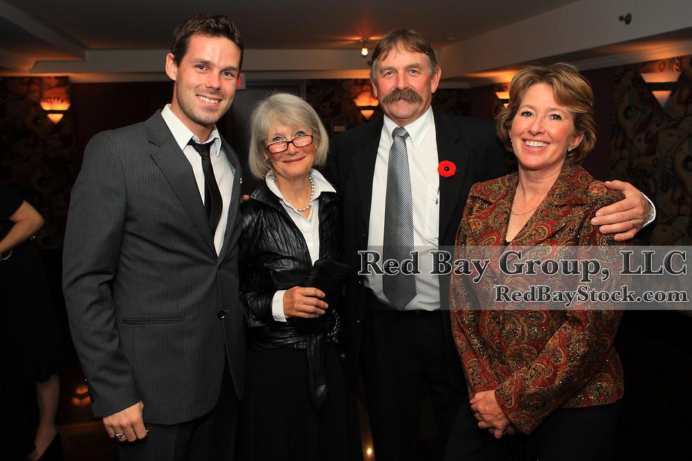 Brandon McMechan, Judy Hodgkinson, Glenn McMechan and Gwen Lehari at the 2009 Canadian Eventing Hall of Fame Gala in Toronto, Ontario.