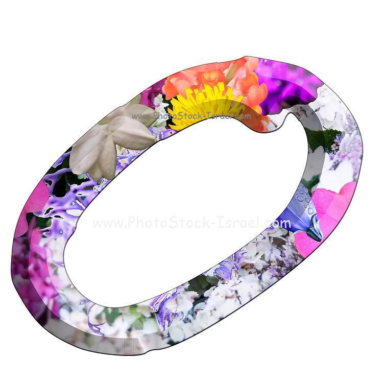 The Capitol Letter O Part of a set of letters, Numbers and symbols of 3D Alphabet made with colourful floral images on white background