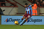 Jordan Clarke of Scunthorpe United crosses bal during the Sky Bet League 1 match between Scunthorpe United and Wigan Athletic at Glanford Park, Scunthorpe, England on 2 January 2016. Photo by Ian Lyall.