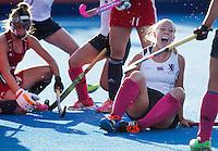 LONDON -  Unibet Eurohockey Championships 2015 in  London. England v Scotland.   Kareena Marshall has scored for Scotland. WSP Copyright  KOEN SUYK