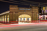 Night view of the Historic Charleston City Market on Market Street in Charleston, SC.