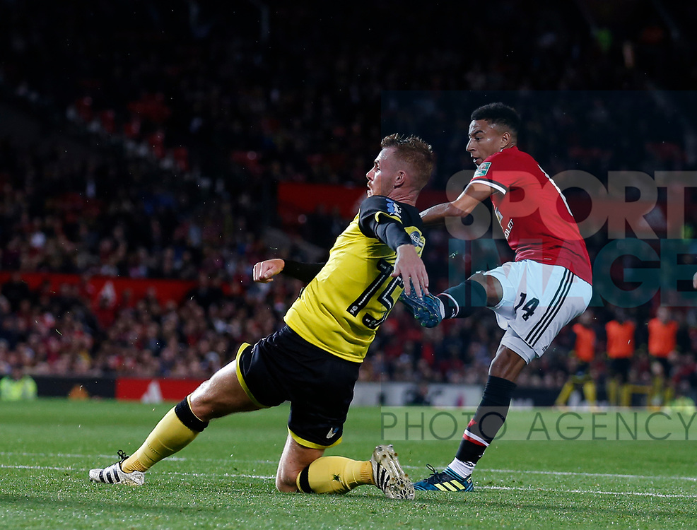 Jesse Lingard of Manchester United scores the third goal during the Carabao Cup Third Round match at the Old Trafford Stadium, Manchester. Picture date 20th September 2017. Picture credit should read: Simon Bellis/Sportimage