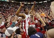 (OSUM07 BAPTIST SHILLING 3/6/05) Ohio State's J.J. Sullinger is hoisted on the shoulders of fans after the Buckeyes beat Illinois 65-64. (NAMES CQ)(Photos for the Dispatch by Will Shilling)