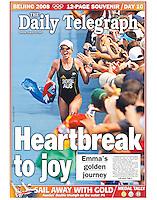 Australia's Emma Snowsill wins gold in the Triathlon event at the 2008 Beijing Olympics. (Copyright Michael Dodge/Daily Telegraph)