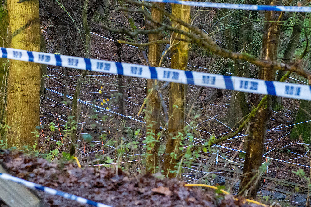 """© Licensed to London News Pictures. 10/12/2019. Gerrards Cross, UK. Police tape and evidence identification markers on woodland floor as the Metropolitan Police Service continues a search operation in Gerrards Cross, Buckinghamshire. Police have been in the area conducting operations on Hedgerley Lane since Thursday 5th December 2019. In a press statement issued on 7th December a Metropolitan Police spokesperson said """"Officers are currently in the Gerrards Cross area of Buckinghamshire as part of an ongoing investigation.<br /> """"We are not prepared to discuss further for operational reasons."""" No further updates have been issued as of 10th December. Photo credit: Peter Manning/LNP"""