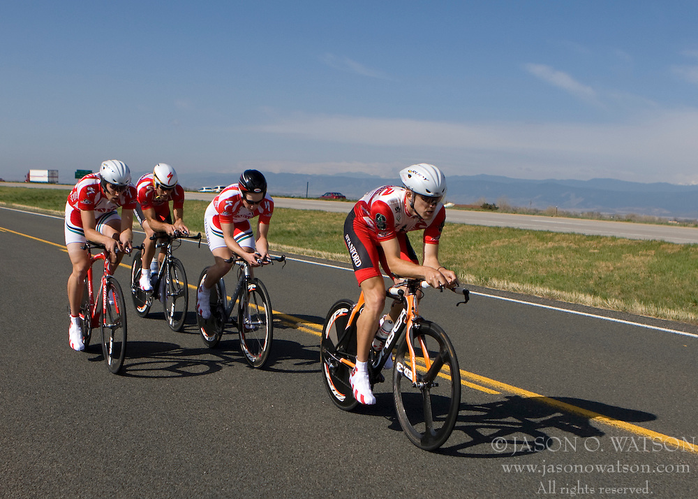 The Stanford University team of Evan Pickett, Max Haines-Stiles, Elliot Holland, Gavin Melly, Robert Meyer, and Ryan Parnes competes in the men's division 1 race.  The 2008 USA Cycling Collegiate National Championships Team Time Trial event was held near Wellington, CO on May 9, 2008.  Teams of 3 or 4 riders raced over a 20km out and back course that ran along a service road to Interstate 25.