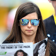 Sprint Cup Series driver Danica Patrick (10) signs autographs during the 57th Annual NASCAR Coke Zero 400 race first practice session at Daytona International Speedway on Friday, July 3, 2015 in Daytona Beach, Florida.  (AP Photo/Alex Menendez)