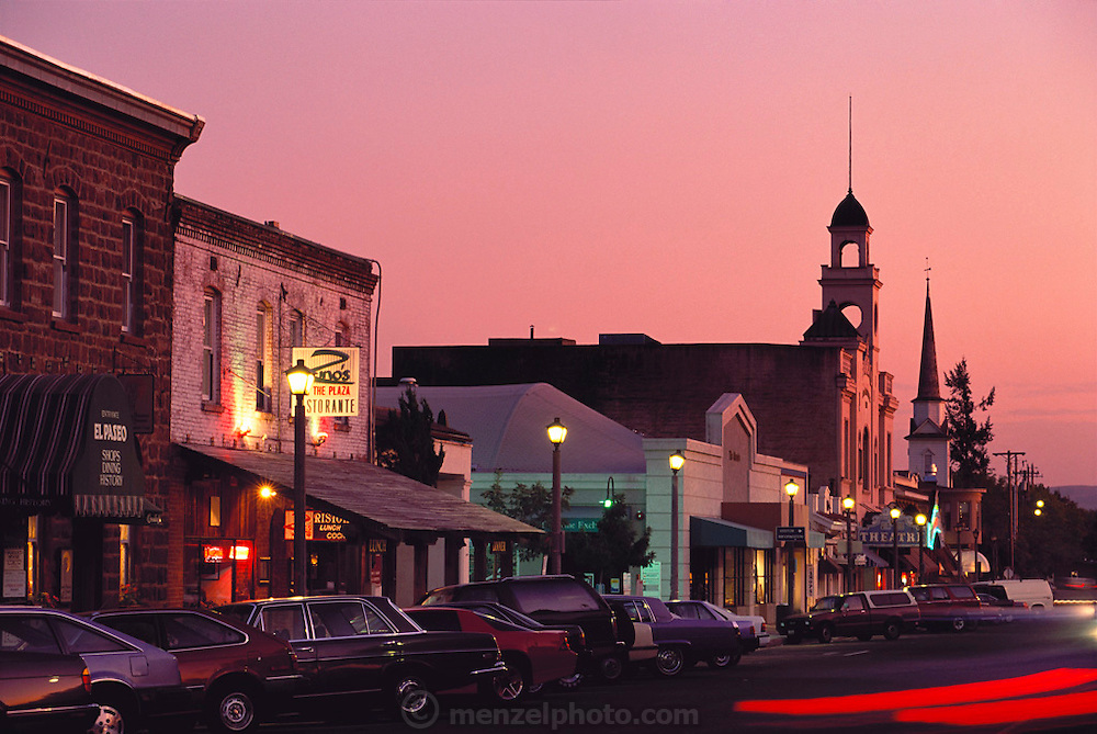 First Street East at dusk - downtown plaza of Sonoma, California.